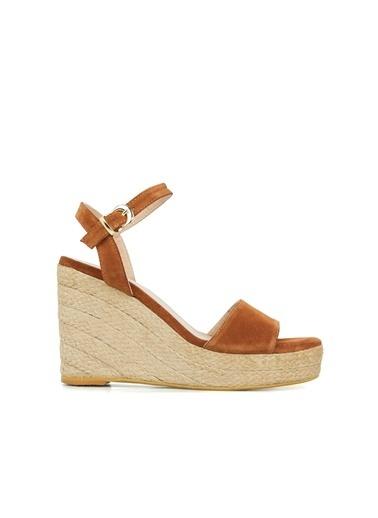 Divarese Divarese 5025394 Bantlı Topuklu Renkli Kadın Sandalet Taba